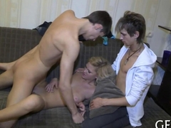 Blonde babe bounds on two rods in a threesome