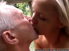 Blonde honey makes out with a smutty old guy