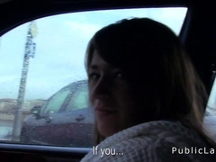 Brunette amateur babe bangs in car in public