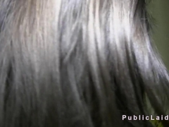 Long haired amateur banged in public pov
