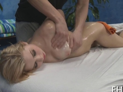 Wild blonde oiled up before fucking her pushy massage therapist