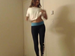 Teen cutie in leggings giving head
