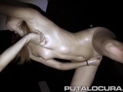 PUTA LOCURA Beautiful Teen in Gloryhole Bukkake