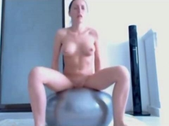 she is on the ball having her sexy wank