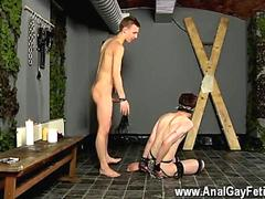 Ravenous twink smacks his captives little mouth with dick