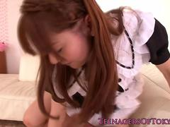 Newbie asian teen Anri Sonozaki facialized