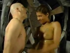 Bald slave dominated and ridiculed by a femdom