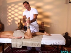 Hot blondes oily massage