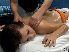 Cute brunette fucking during a dirty massage