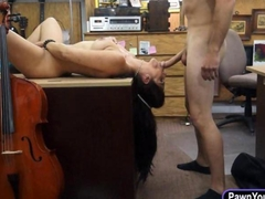 Amateur girl sells her Cello and fucked at the pawnshop