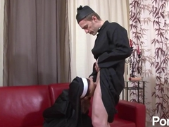 Nun gets fisted and a cock in her ass