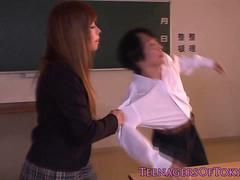 Cute japanese schoolgirl receives a creampie
