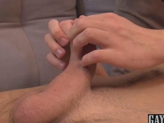The feeling of his foreskin between his fingers turns him on
