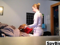 blonde teen is being hidden cam spyed on