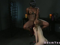 Busty white slave licks black cunt to mistress
