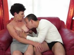 Hot granny fucks a young guy