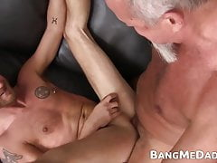 Bearded older dude drills young gay raw after cocksucking